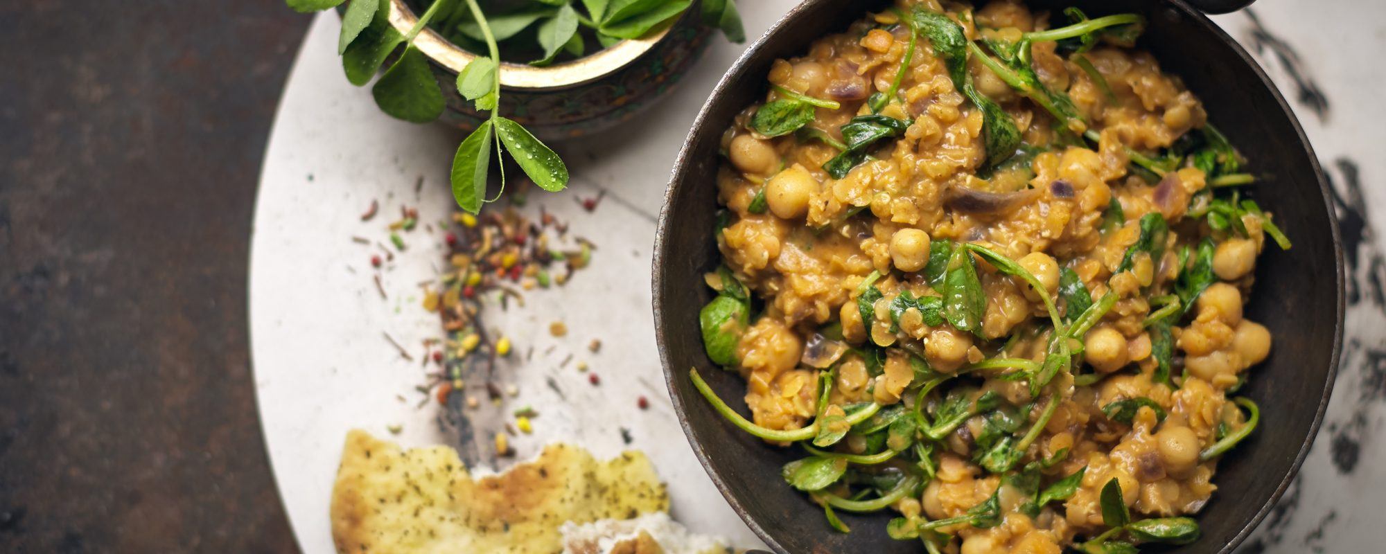 Pea Shoots and Chickpea Coconut Dahl