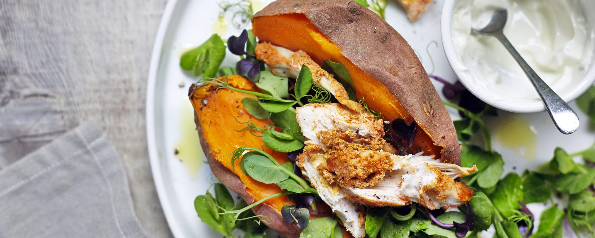 Sweet Potato, Tandoori Chicken & Pea Shoots