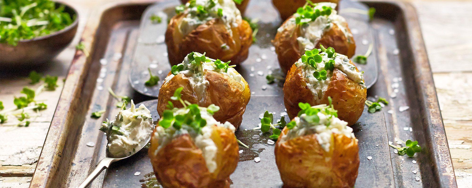 Mini Jacket Potatoes with Salad Cress Cream Cheese