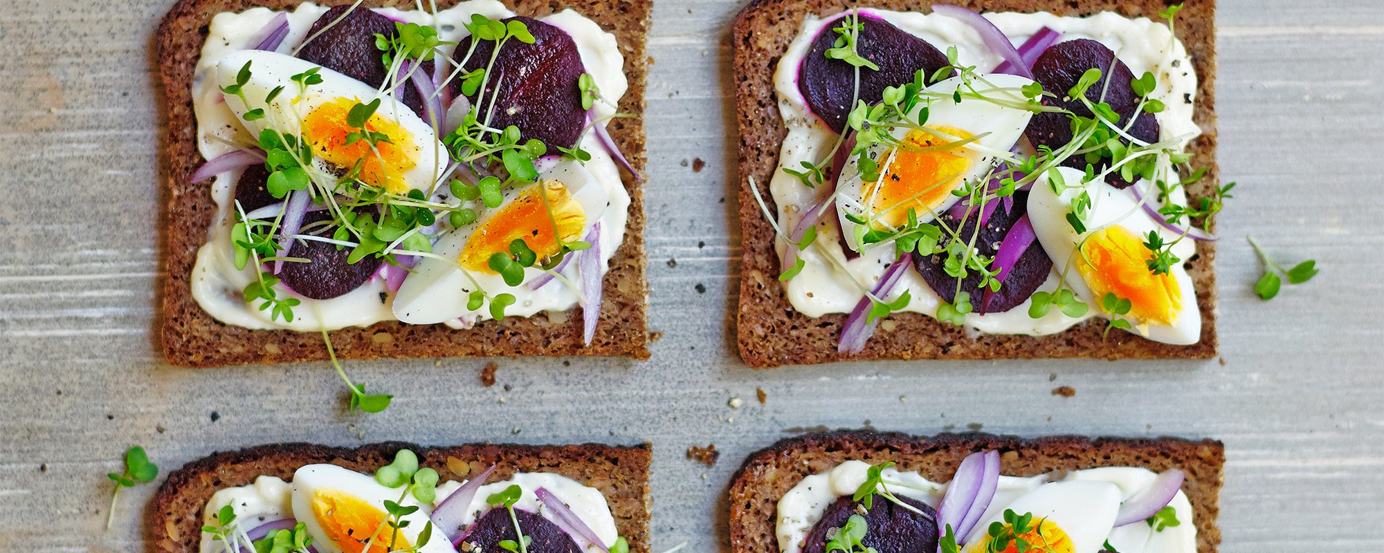 Egg, Beetroot and Salad Cress Sandwich