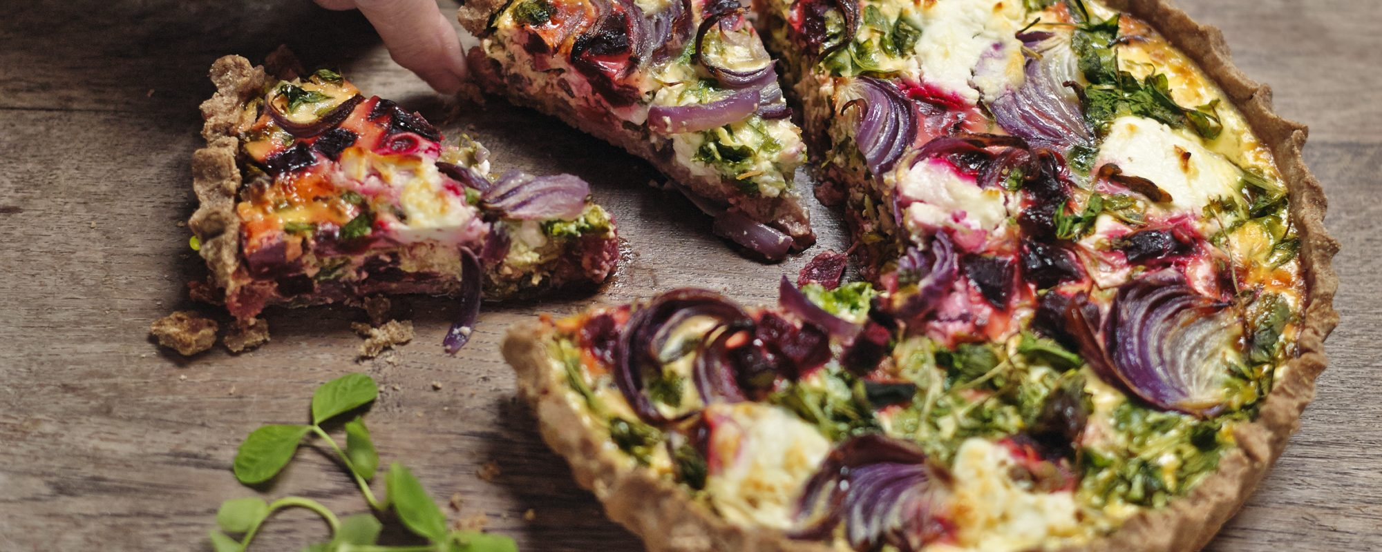 Pea Shoots, Beetroot and Goat's Cheese Quiche