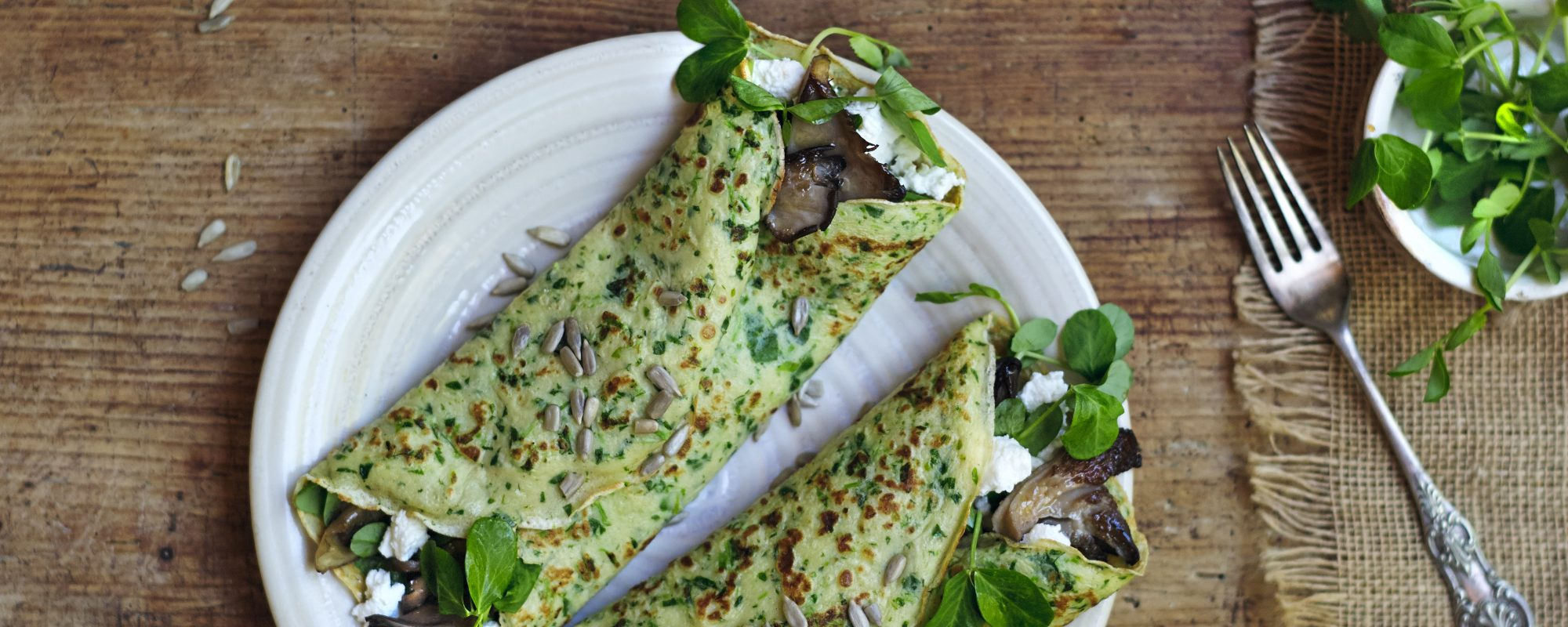 Pea Shoot Pancakes with Ricotta & Oyster Mushrooms