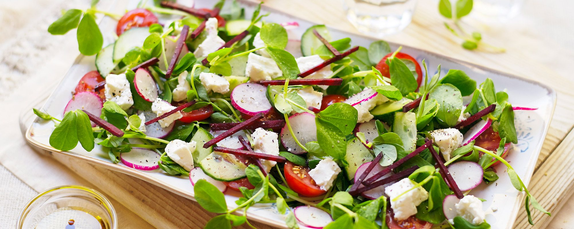 Pea Shoots, Feta Cheese and Radish Salad