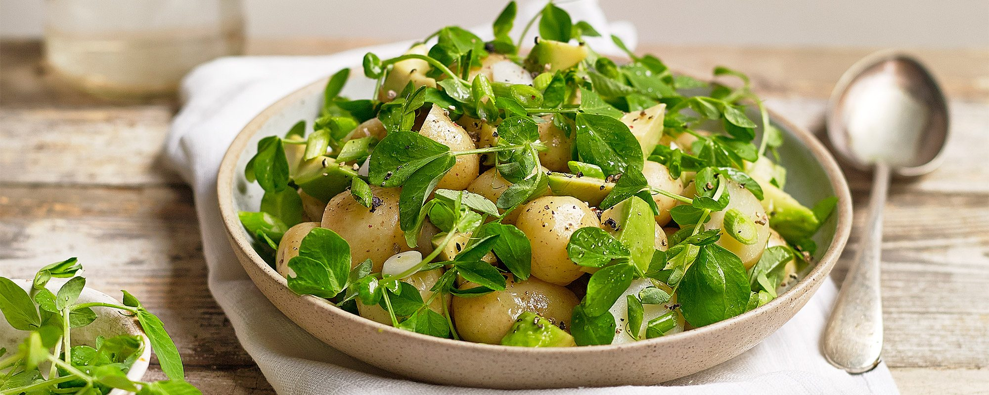 Pea Shoots Potato Salad with Avocado