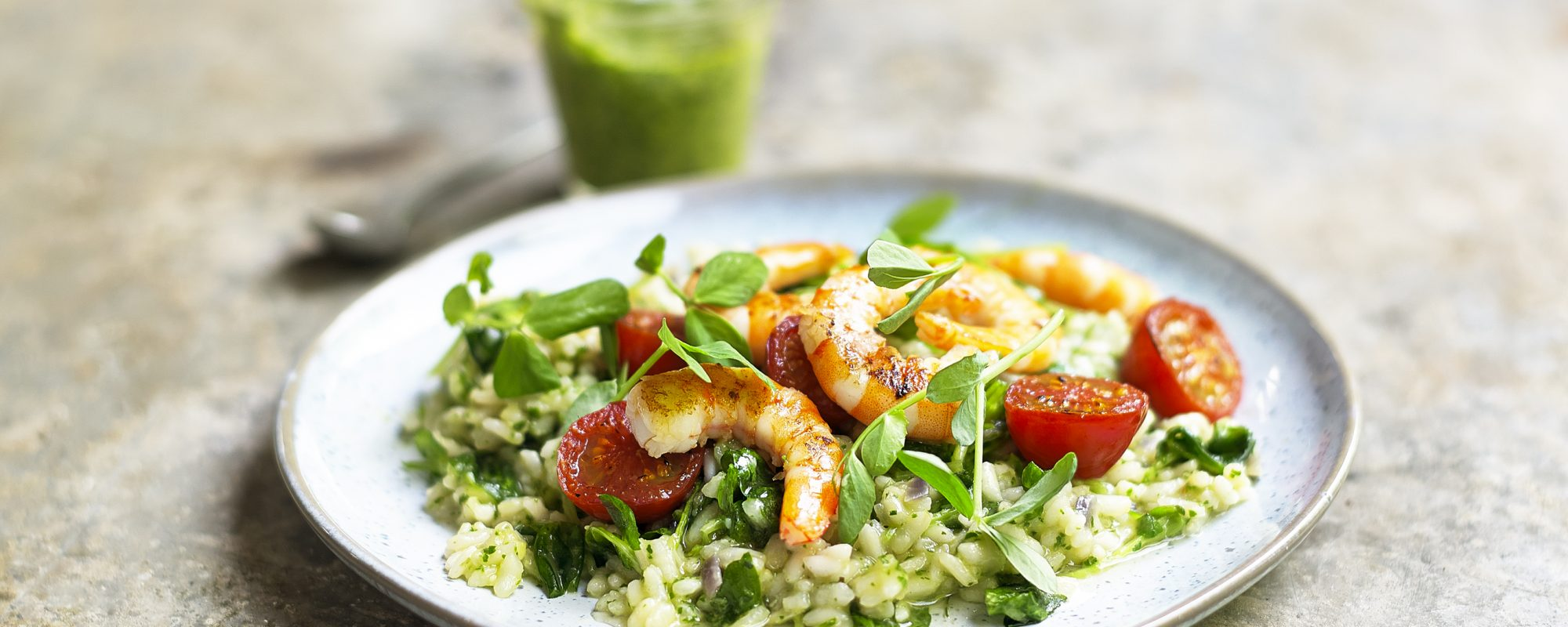 Cressto Risotto with Prawns & Pea Shoots