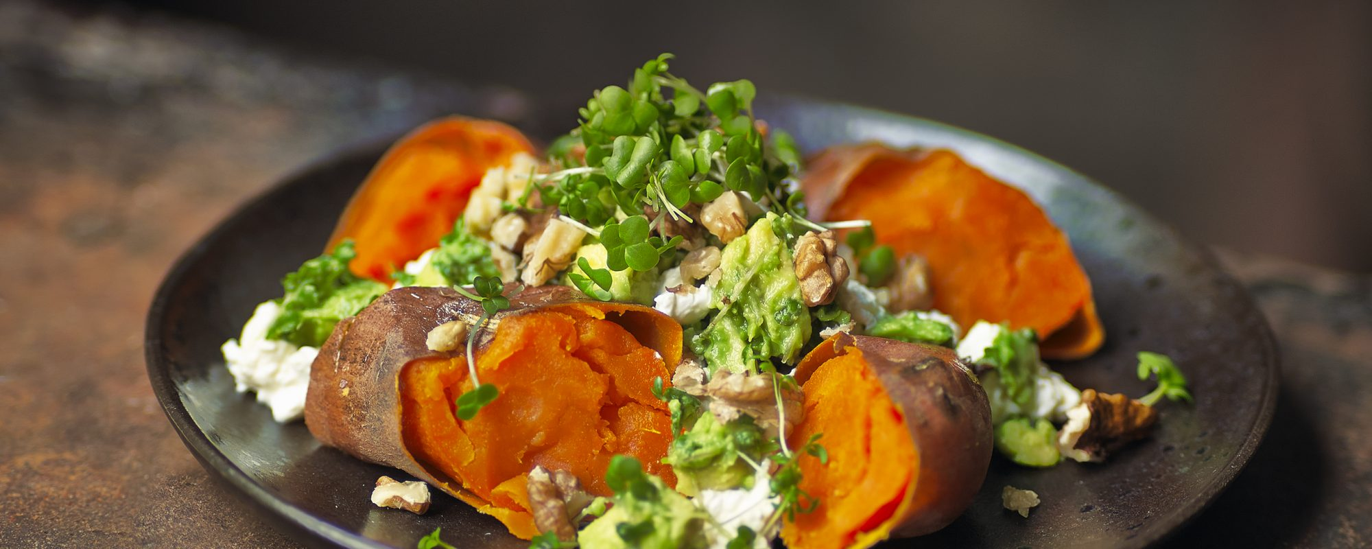 Baked Sweet Potato with Salad Cress, Cottage & Avocado