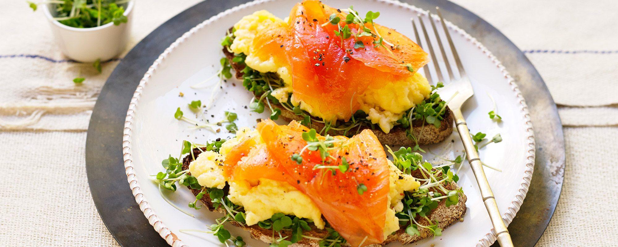 Smoked Salmon, Scrambled Egg and Salad Cress on Sourdough