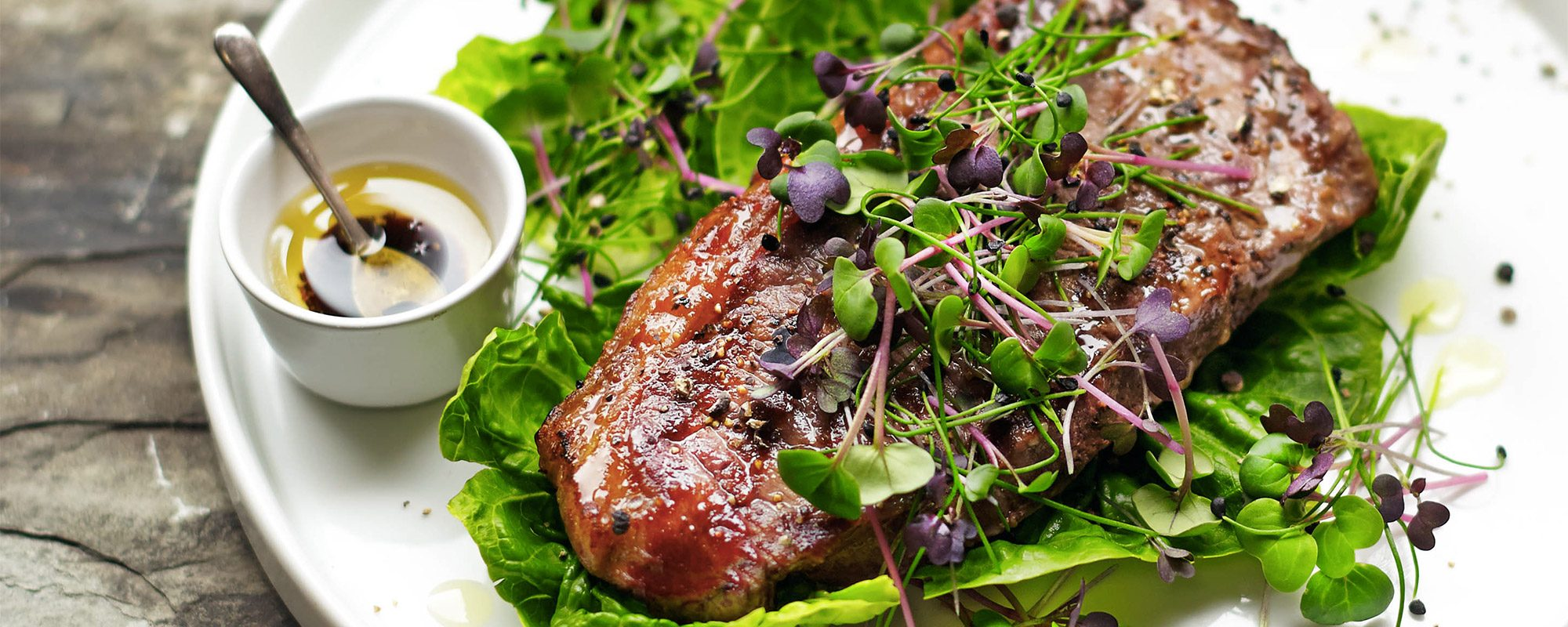 Sirloin Steak with Microgreens Salad