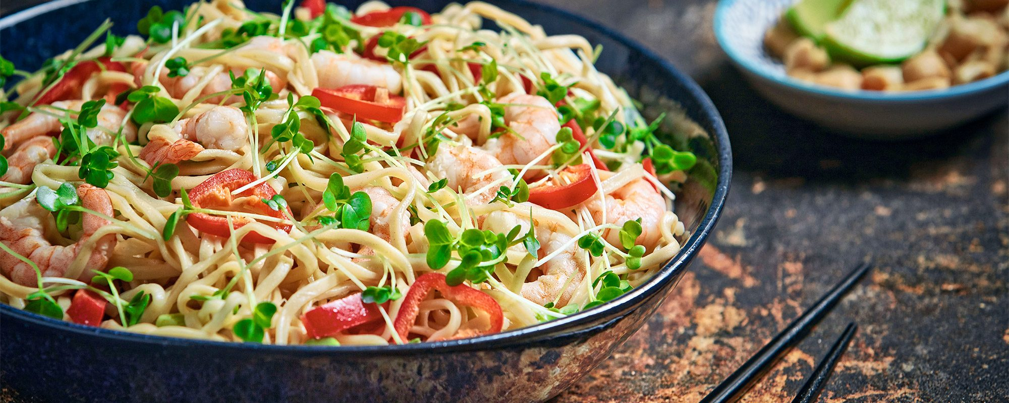 Prawn and Red Chilli Stir-Fry with Salad Cress