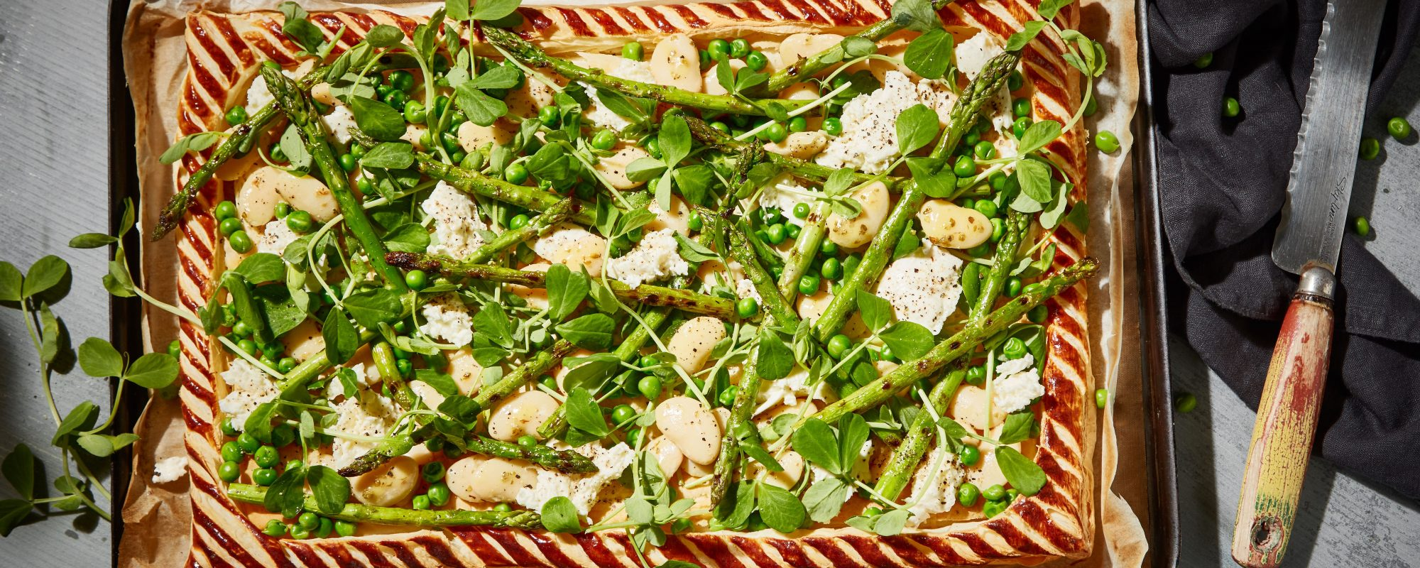 Chargrilled Asparagus, Pea Shoots & Butter Bean Tart