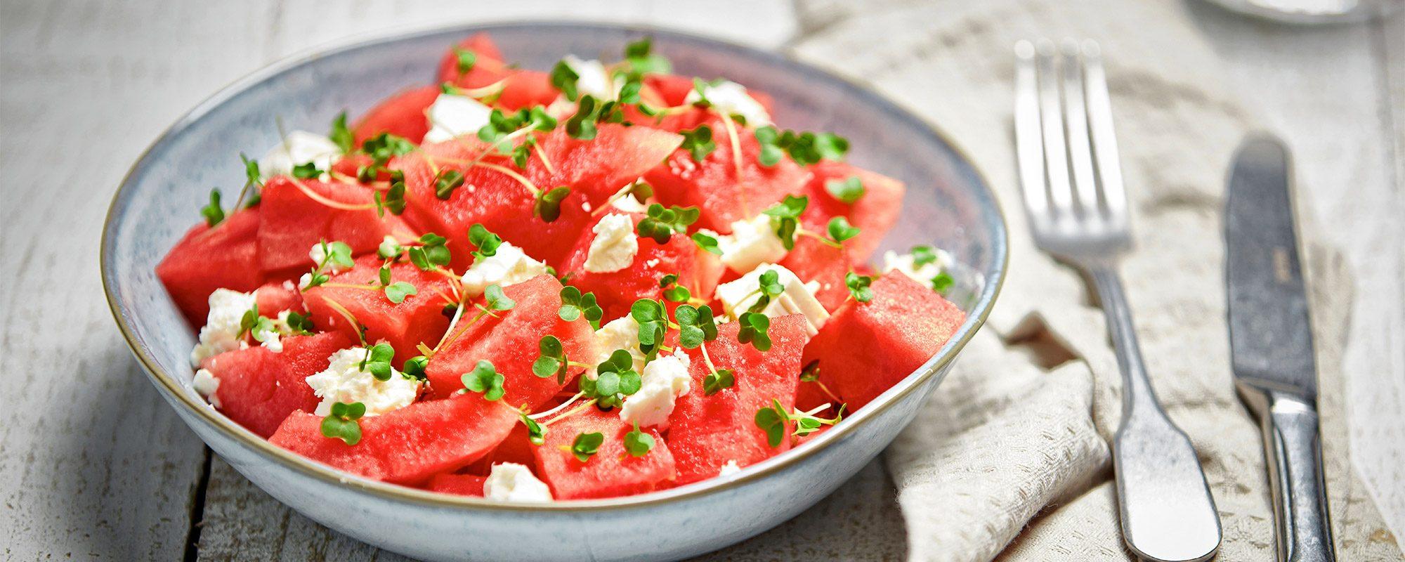 Watermelon, feta cheese and salad cress salad