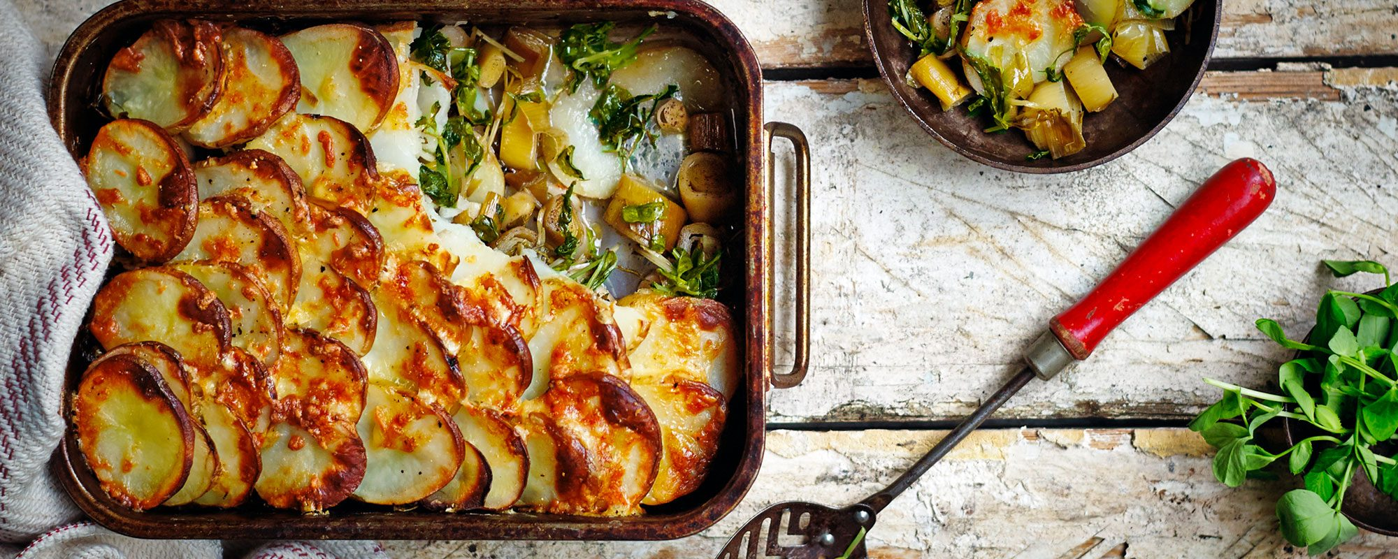 Pea Shoots, Leek and Potato Bake